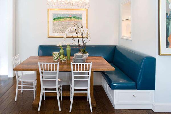 mavi mutfak köşe takımı