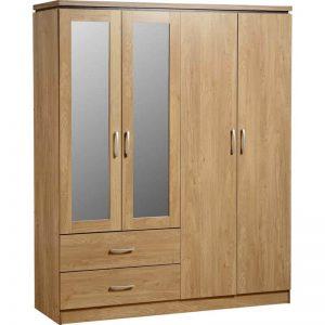 Çift Aynalı 4 Kapılı Gardrop