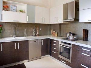 Kahverengi Beyaz Mutfak Dolabı Modeli