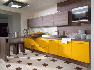 Kahverengi Sarı Mutfak Dolabı Modeli