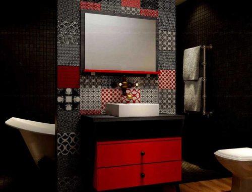 25 Kırmızı Renk Banyo Dolabı