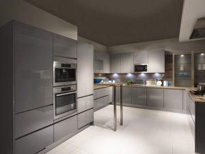 metalik gri mutfak dolabı