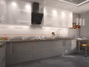 gri beyaz mutfak dolabı