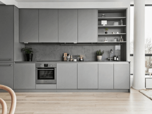 açık gri mutfak dolabı
