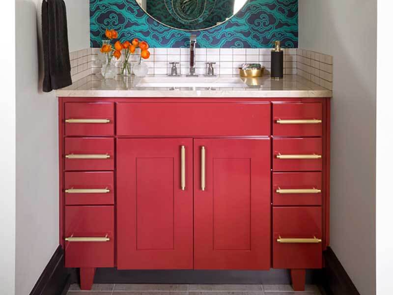 Kırmızı Renk Banyo Dolabı