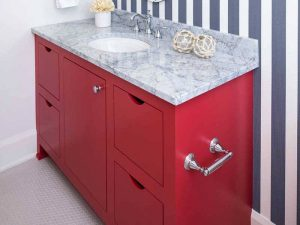 Mermer Tezgahlı Kırmızı Renk Lavabo Dolabı