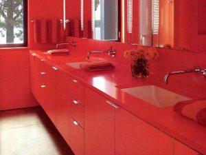 Üçlü Kırmızı Renk Lavabo Dolabı