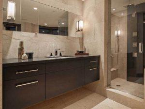 Kahverengi Renk Ana Banyo Lavabo Dolabı