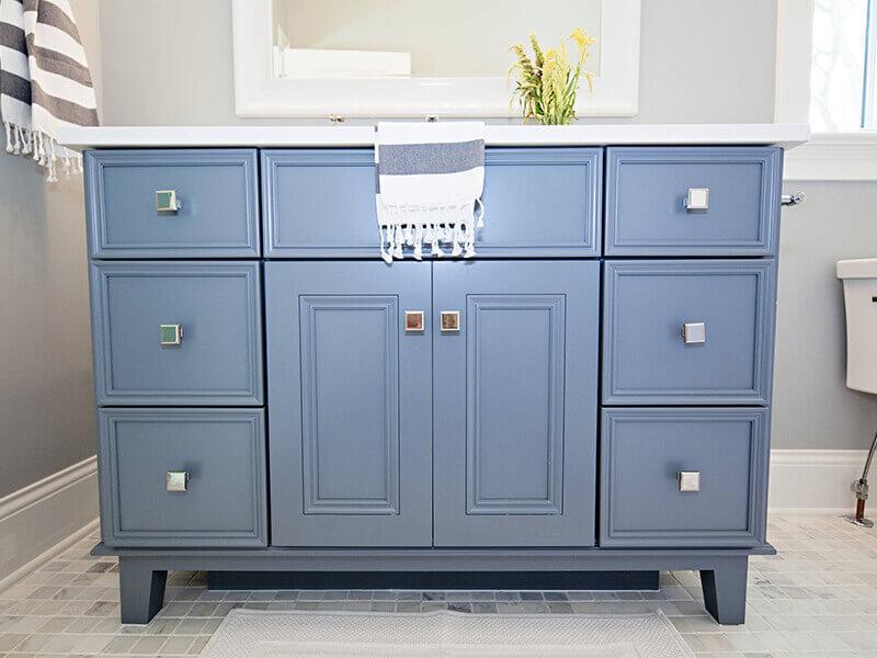 6 Çekmeceli Mavi Renk Banyo Dolabı