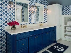 Mermer Tezgahlı Mavi Renk Banyo Dolabı