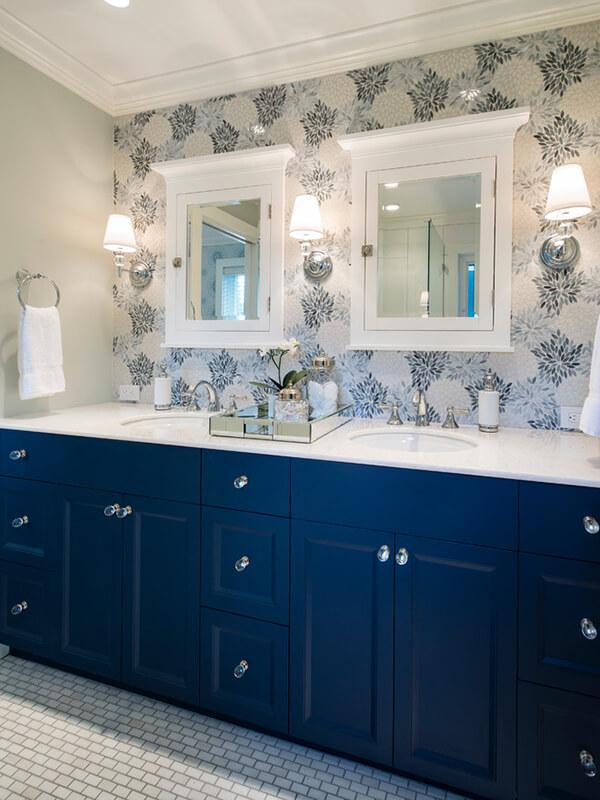 Klasik Mavi Renk Banyo Dolabı