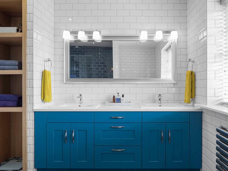 Modern Mavi Renk Banyo Dolabı
