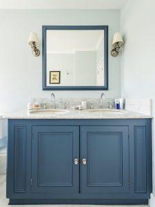 Çift Kapaklı Mavi Renk Banyo Dolabı