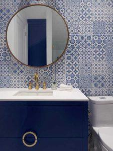 Yuvarlak Aynalı Mavi Renk Banyo Dolabı