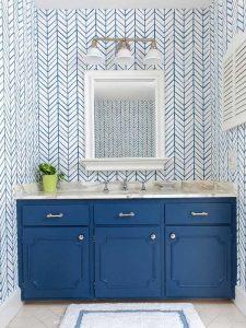 Yatay Çekmeceli Mavi Renk Banyo Dolabı