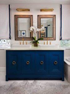 Halka Kulplu Mavi Renk Banyo Dolabı