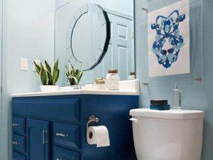 Ufak Banyo Mavi Renk Banyo Dolabı