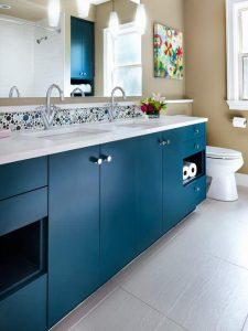 Nokta Kulplu Mavi Renk Banyo Dolabı