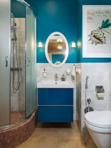 Küçük Banyo Mavi Renk Banyo Dolabı