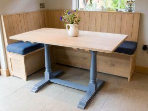 Mavi Puflu Mutfak Köşe Takımı Modeli