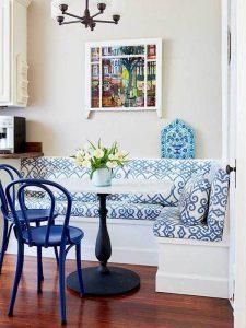 Mavi Kumaş Döşemeli Mutfak Köşe Takımı Modeli