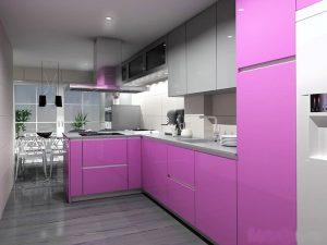 fuşya pembesi mutfak dolabı modeli