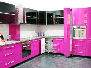 Pembe Siyah Mutfak Dolabı Modeli