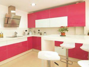 Pembe Beyaz Mutfak Dolabı Modeli
