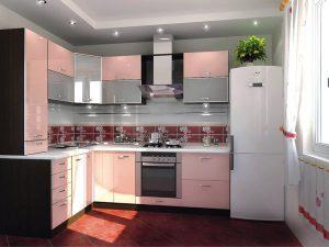 açık pembe mutfak dolabı modeli