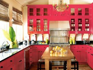 Koyu Pembe Mutfak Dolabı Modeli