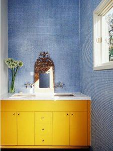 Mermer Tezgahlı Sarı Renk Banyo Dolabı Modeli