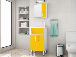 Üst Dolaplı Sarı Renk Banyo Dolabı Modeli