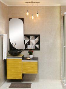 Duvara Asılan Sarı Renk Banyo Dolabı Modeli