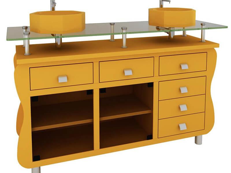 6 Çekmeceli Sarı Renk Banyo Dolabı Modeli