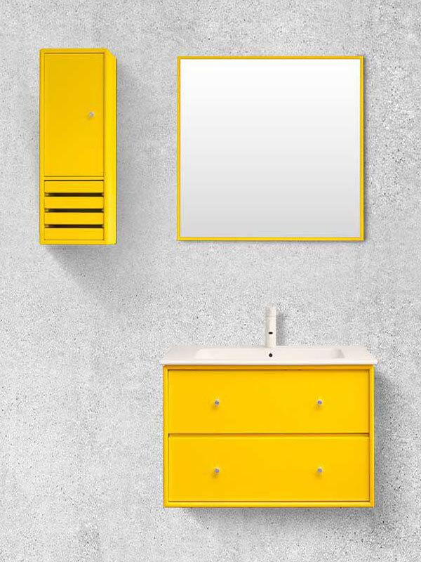 Modern Tasarımlı Sarı Renk Banyo Dolabı Modeli