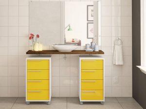 8 Çekmeceli Sarı Renk Banyo Dolabı Modeli