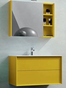 Aynalı Sarı Renk Banyo Dolabı Modeli