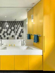 Boy Dolaplı Sarı Renk Banyo Dolabı Modeli