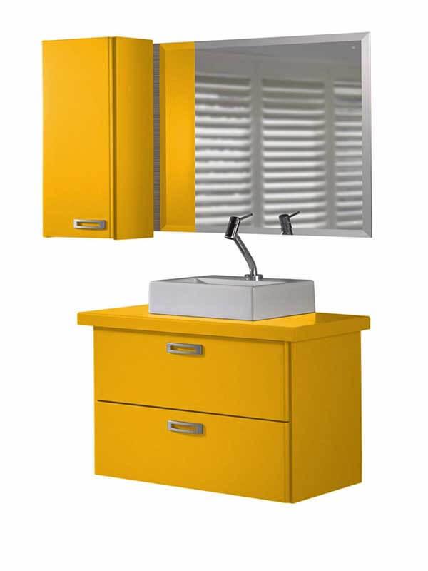 Küçük Banyolar İçin Sarı Renk Banyo Dolabı Modeli