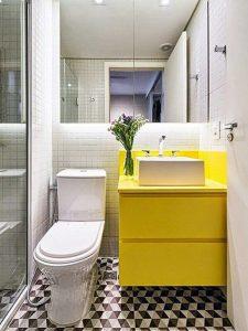 Küçük Banyo İçin Sarı Renk Banyo Dolabı Modeli