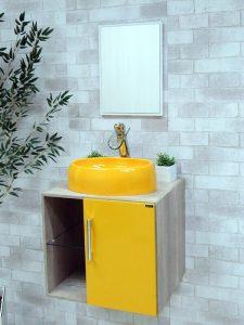 Yuvarlak Lavabolu Sarı Renk Banyo Dolabı Modeli