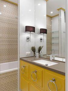 Granit Tezgahlı Sarı Renk Banyo Dolabı Modeli