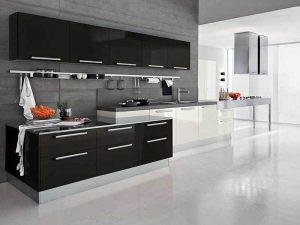 İskandinav Tarz siyah beyaz mutfak dolapları