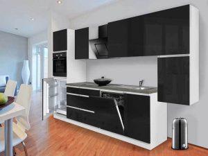 Minimal Tarz siyah beyaz mutfak dolapları