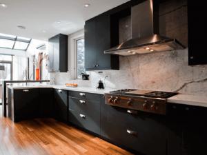 Retro Tarz siyah beyaz mutfak dolapları