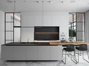 Akdeniz Esintileri Tarzı siyah beyaz mutfak dolapları