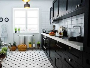 Hollywood Işıltısı Tarzı siyah beyaz mutfak dolapları