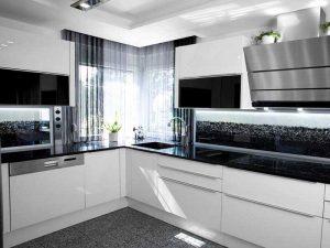 Minimalist Tarz siyah beyaz mutfak dolapları
