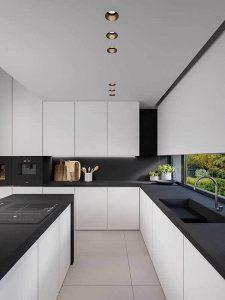 Siyah Beyaz Simli mutfak dolabı