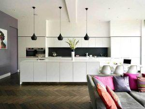 Modern Tarz siyah beyaz mutfak dolapları